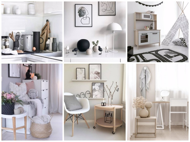 Severský styl v kuchyni, skandinávský styl v obýváku a ložnici. Křeslo s polštářkem. Proutěný koš s plédy.