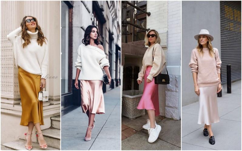 Ženy ve světlém svetru a saténové slip skirt doplněnými o lodičky i tenisky.