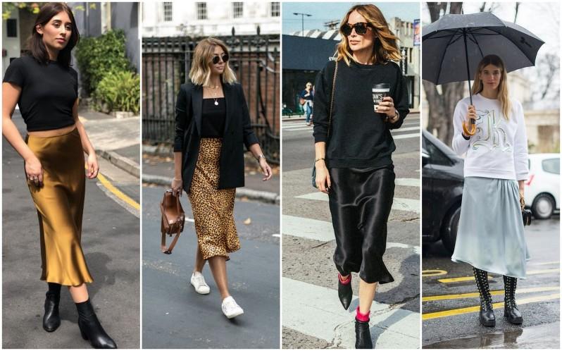 Ženy oblečení do saténové sukně do poloviny lýtek v hořčicové barvě, s leopardním vzorem, v černé barvě a v bledě modré.