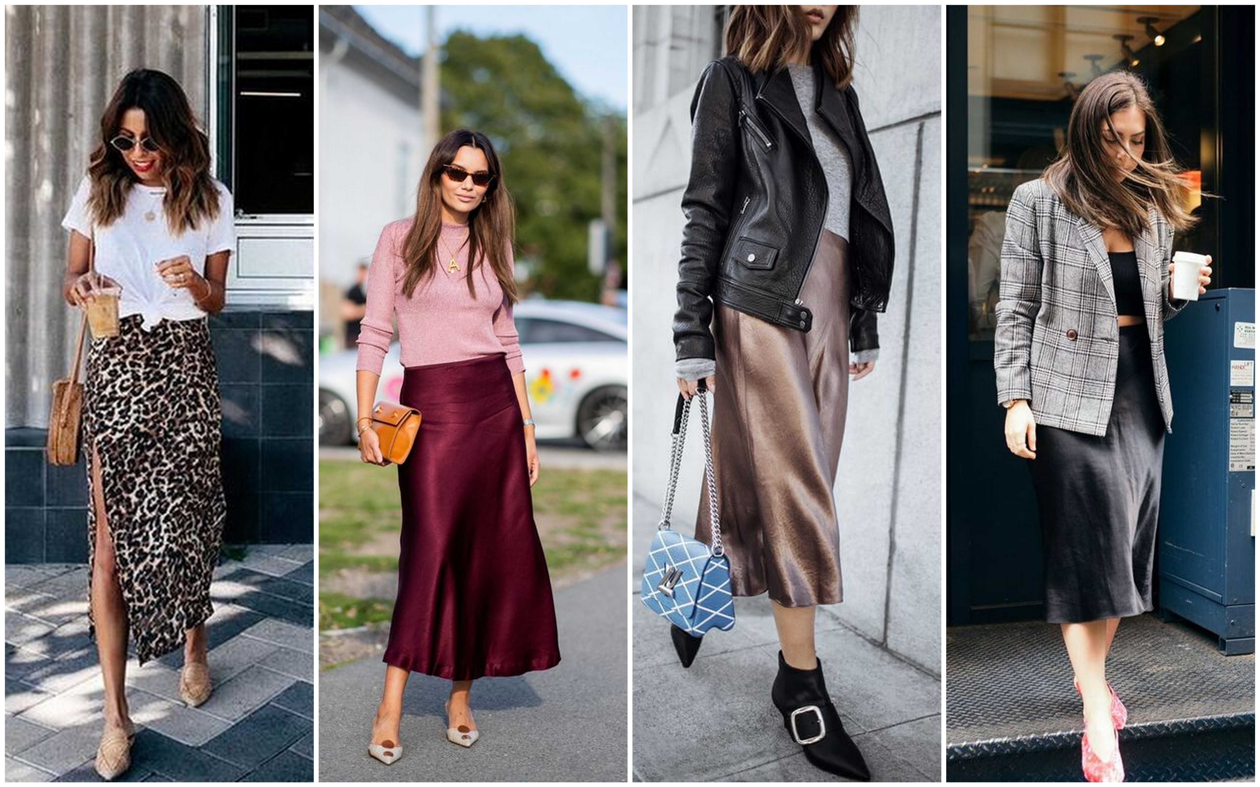 Stylové ženy v dlouhých sukních ze saténu, kterým se říká slip skirt.