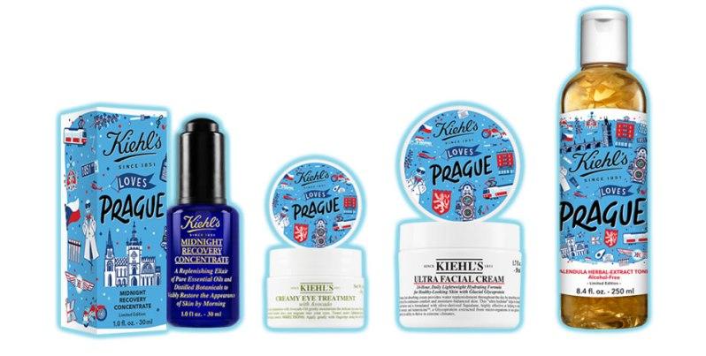 Modré obaly kosmetických produktů na pleť Kiehl's Love Prague