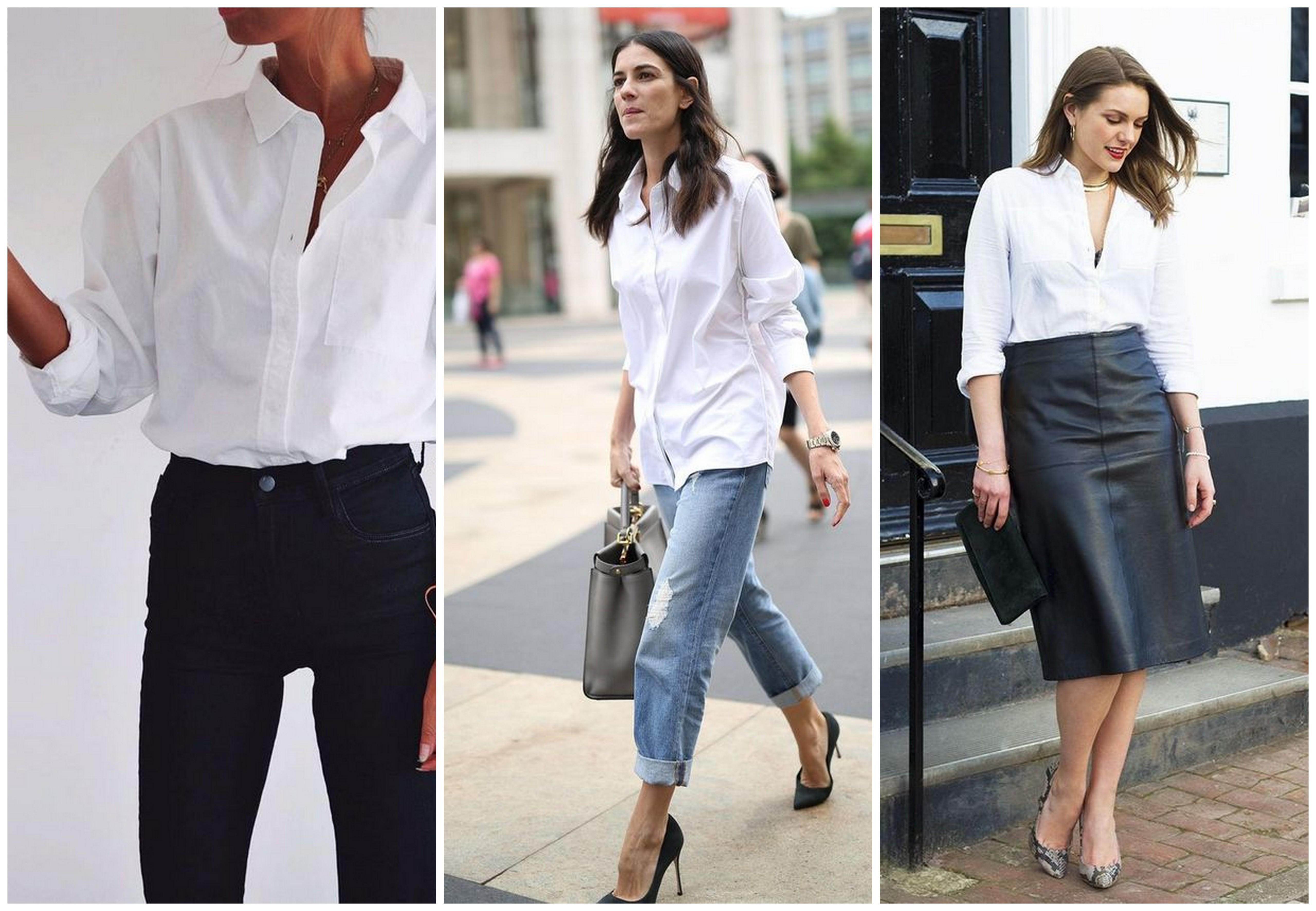 jak se nosí bílá košile inspirace outfity